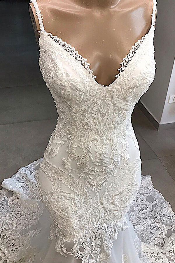 Amazing Appliques Tulle Mermaid Wedding Dress