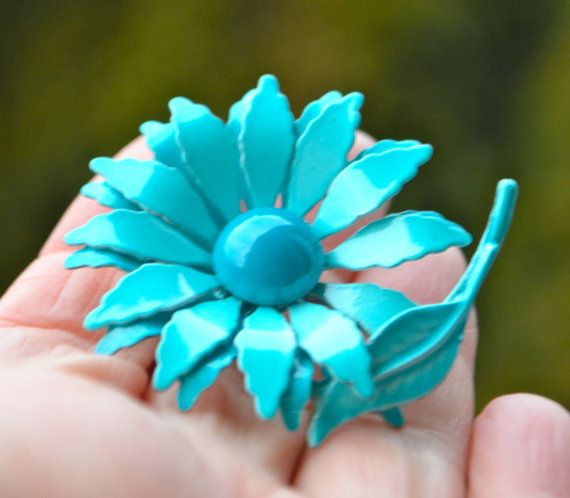 Vintage Turquoise Enamel Daisy Pin Brooch with by StudioVintage