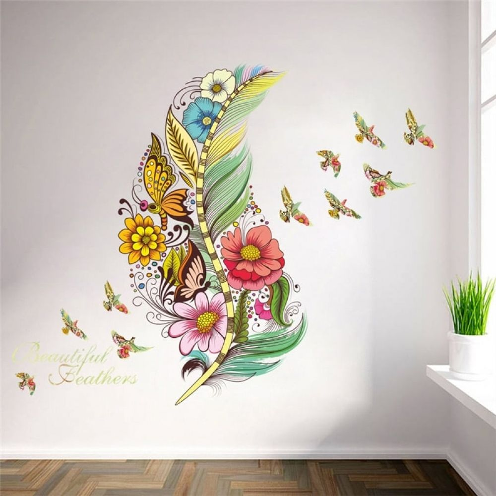 3d feather wall sticker flower wall stickers butterfly on wall stickers 3d id=66273