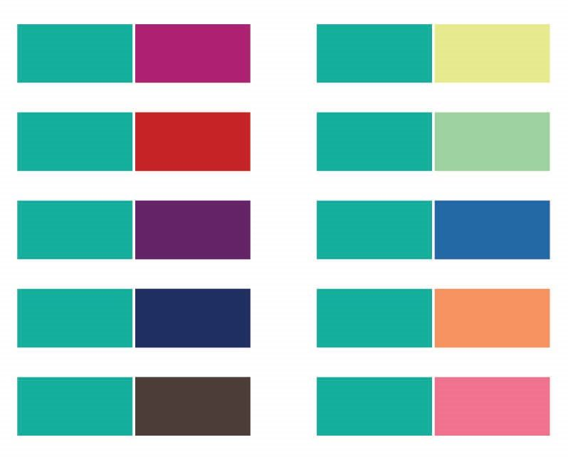 Colors to pair with teal. Some great ideas for Wear Teal Day (coming up