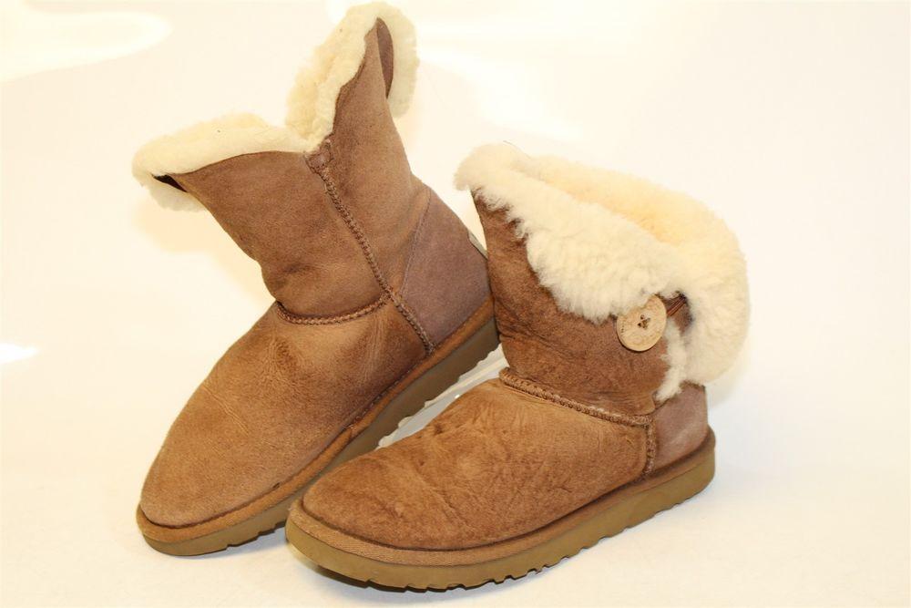 e048748af15 UGG Australia Uggs Womens 6 37 Bailey Button Sheepskin Suede Boots ...