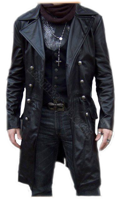Handmade men black biker leather coat 05f230038