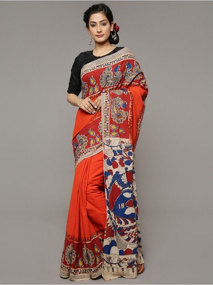 0f3daf67a1623 Red Blue Printed Kalamkari Cotton Saree