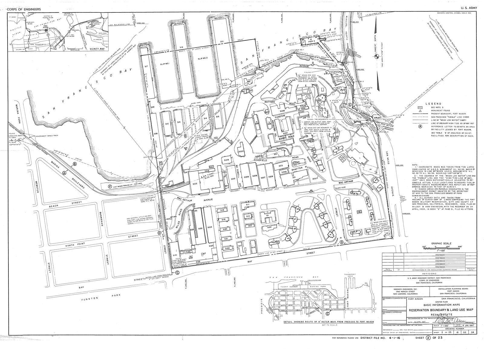 1960 Fort Mason Real Estate Map Fort Mason San Fort
