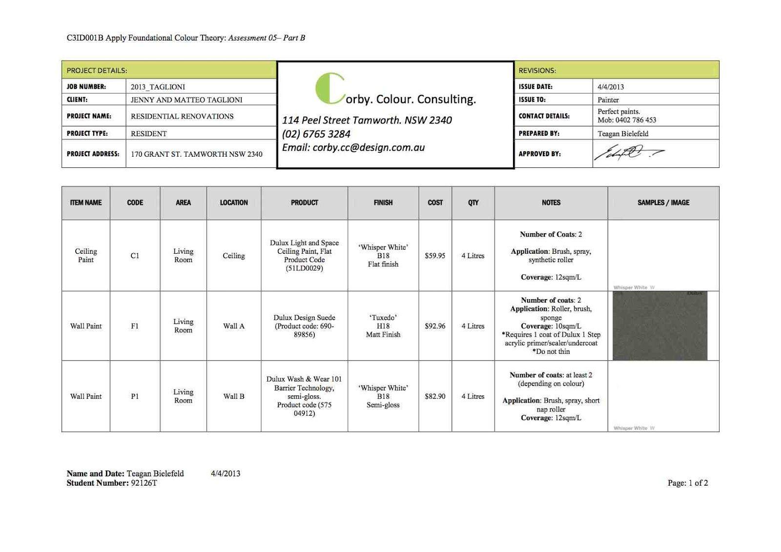 Interiors C3id001b Paint Schedule Schedule Template Templates
