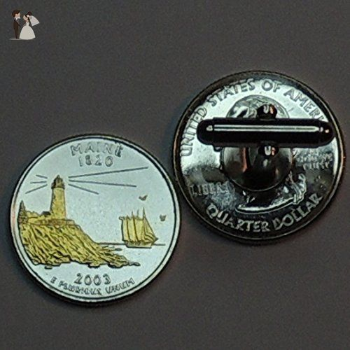 Tie clips Maine Statehood Quarter Gorgeous 2-Toned Gold on Silver Coin