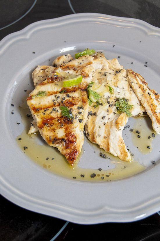 Mojito Chicken - chicken, white rhum, lime, mint, black salt