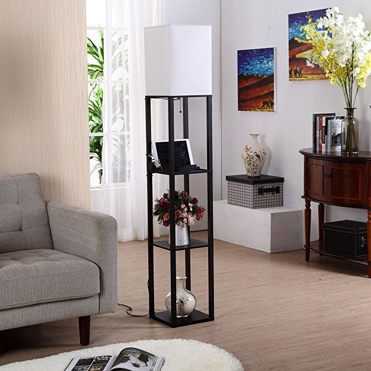 Brightech Maxwell USB Shelf Floor Lamp Mood Lighting