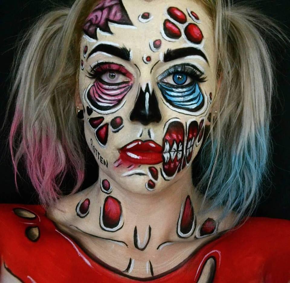 Pop art style Zombie-Quinn Harley Quinn halloween makeup facepaint ...