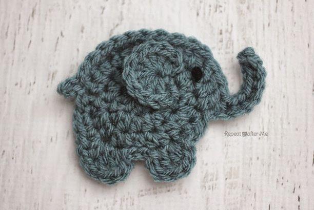 E is for Elephant: Crochet Elephant Applique