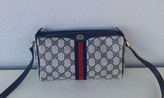 97b396bb1e Gucci vintage small navy blue GG monogram Shelley shoulder bag purse ...