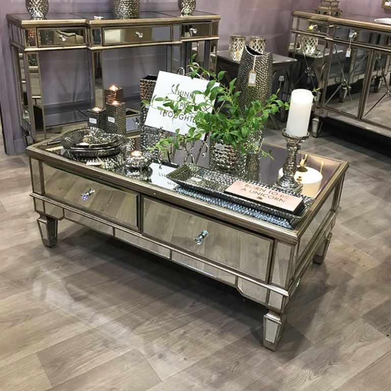 Belfry 4 Drawer Champagne Gold Mirrored Coffee Table In 2019
