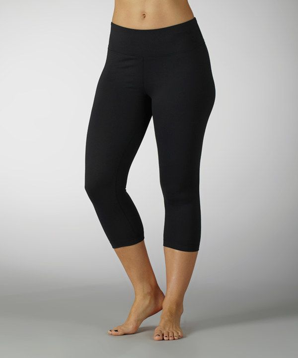 4e1bf7660bca2d Take a look at this Black Sanded Dry-Wik Capri Leggings on zulily today!