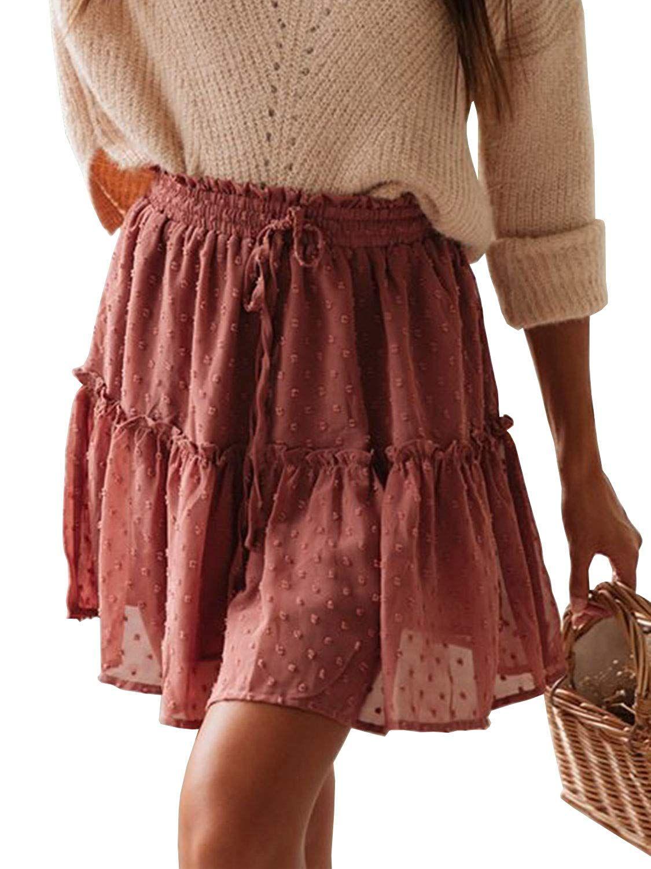 10b8ca830 Miessial Women's High Waist A Line Mini Skirt Pleated Ruffle Cute Beach  Short Skirt at Amazon