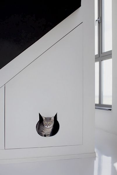 Have a unused space under stairs - or a nook - and also have cats? Why not do something like this, and put their litter box in there (just don't forget the door handle to open it)