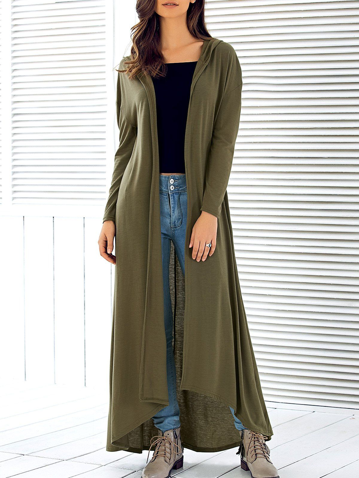 Hooded Long Sleeve Maxi Cardigan   Maxi cardigan, Clothes and Girl ...