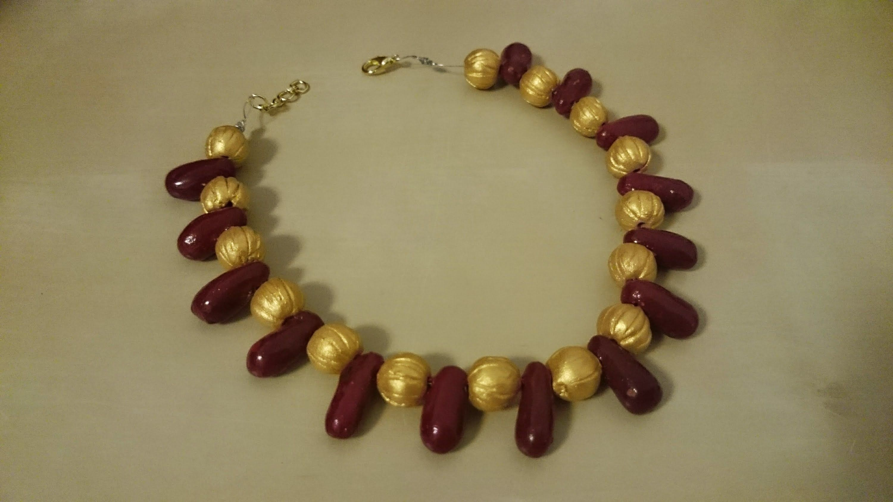 How to make terracotta red n gold bead necklace Clay jewelry