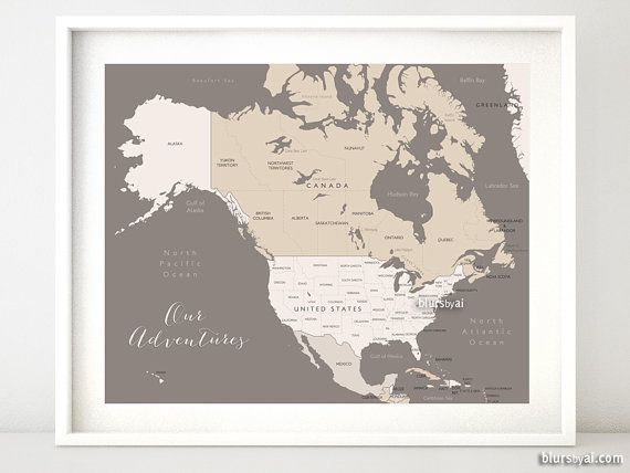 20x16 Printable North America Map With Countries Names Us States Canadian Provinces