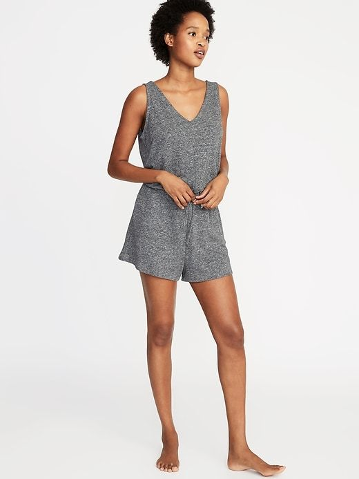 bb70aedab8763 Old Navy Women's Waist-Defined French-Terry Romper Heather Gray Size M