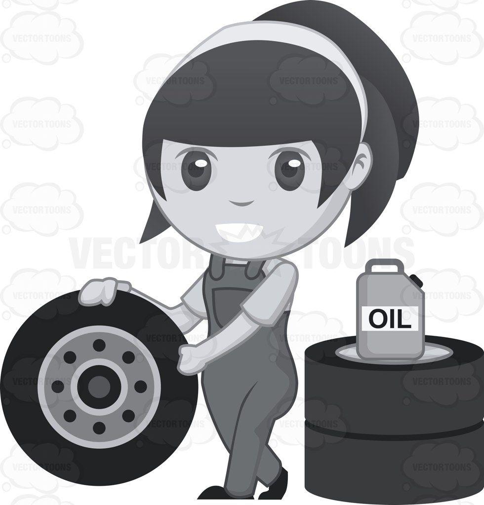 Girl Mechanic Rolling A Tire #alloywheels #automechanic #automobilemechanic #bolt #carmechanic #cartoon #craftswoman #darkhair #engineoil #female #femalechild #fix #fixing #girl #greyscale #headband #individual #jumper #jumpsuit #machinist #magwheels #maintenancegirl #mechanic #mechanical #motoroil #nut #oil #overall #person #repair #repairwoman #romper #servicewoman #shirt #shopmechanic #single #tiedhair #tire #tirebolt #tirenut #tires #tool #toolbox #tools #wheel #wheelbolt #wheelnut ...