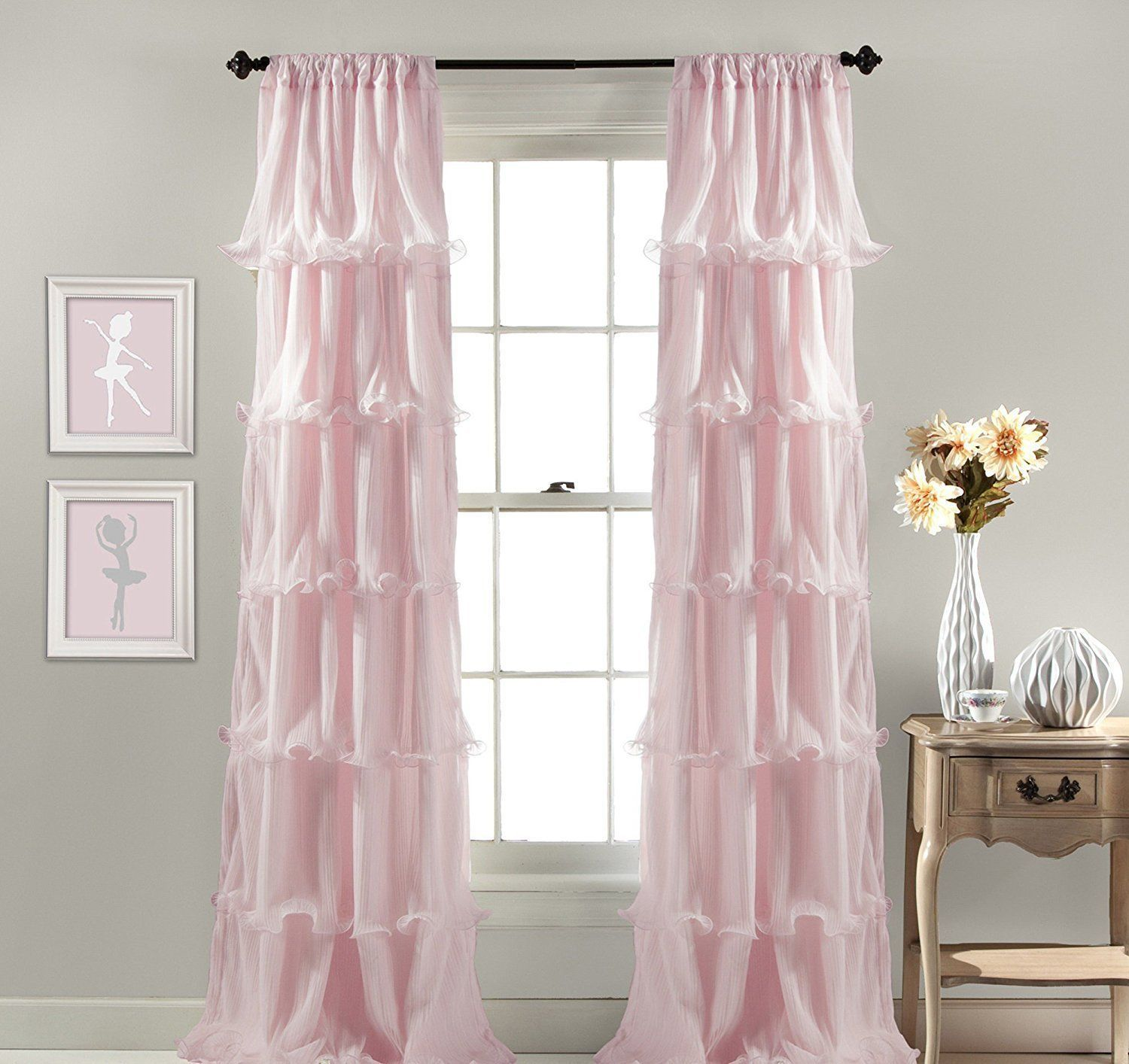 pink panel by insulated for girls room curtains product inch linen girl kids sweety mint thermal lace curtain melodieux blackout