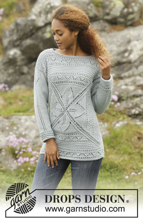c354adc9b2fb Knitted DROPS jumper with leaf pattern