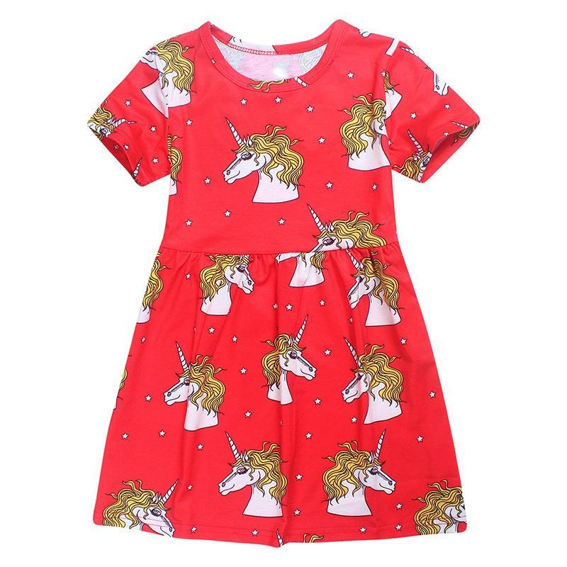 949313d45fce1 Cute Toddlers Kids Girls Animals Printed Summer Cotton Dress For 4Y-11Y