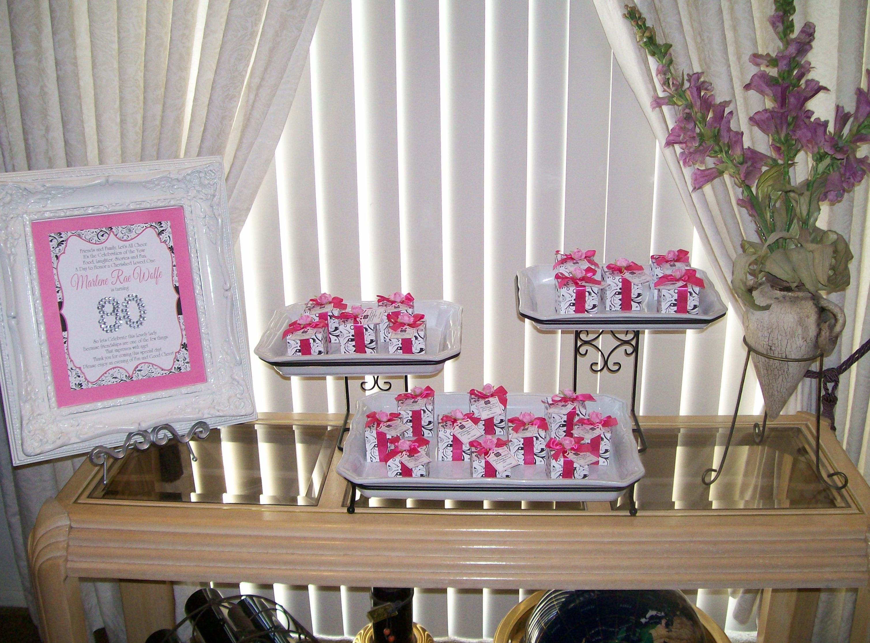 80th Birthday Party Favor Gift Boxes and Sign 80th Birthday