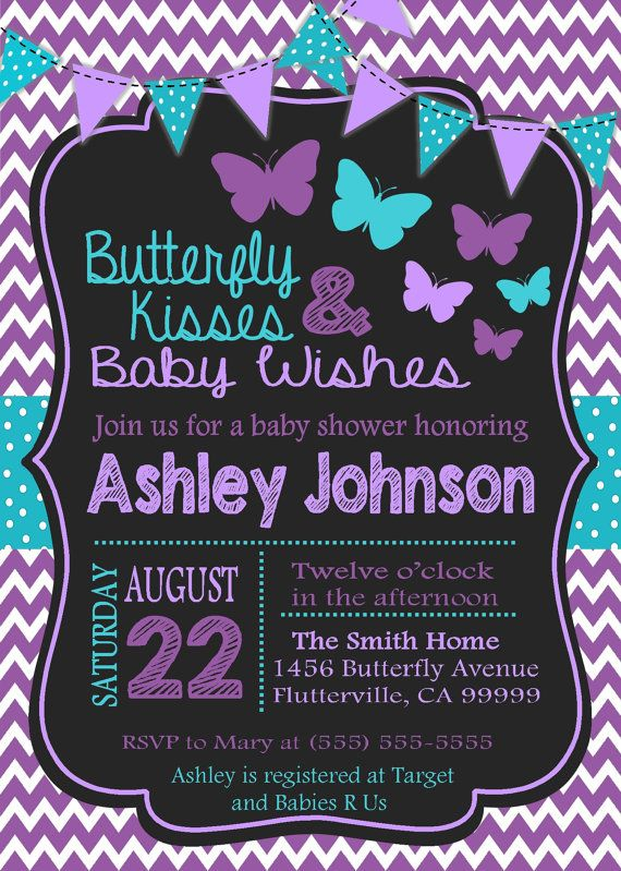 Butterfly Baby Shower Invitation Purple and Teal Digital File
