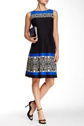 Sleeveless Border Print Pleated Dress