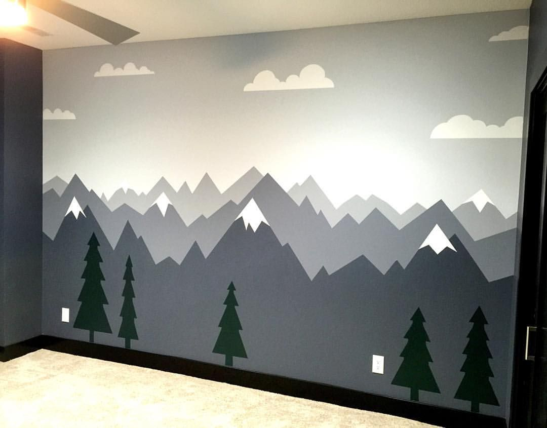 Pin by Geri Roberts on Toddler room | Nursery mural, Mountain ...