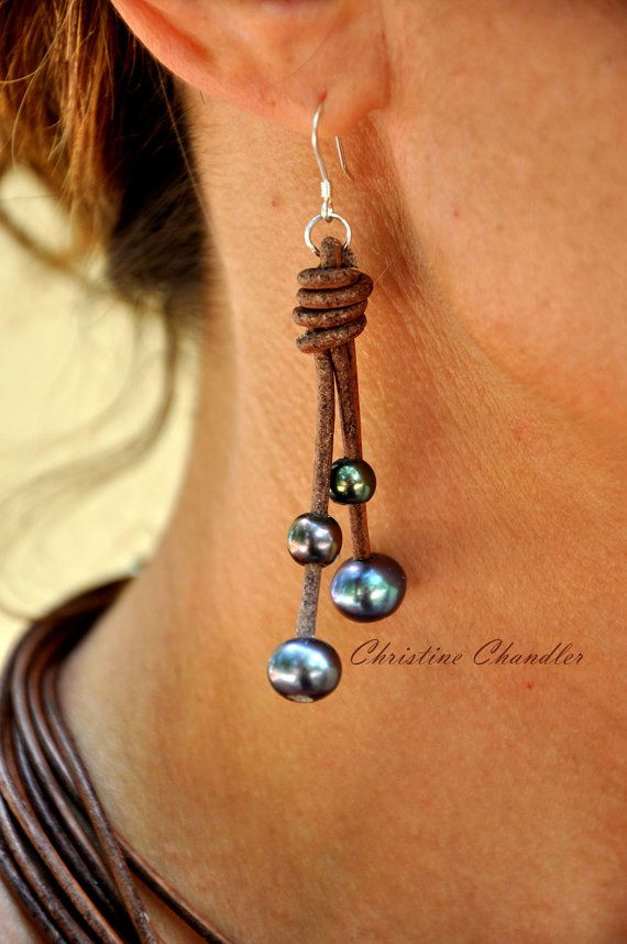Freshwater Pearls and Leather Earrings – Brown Peacock Pearl Earrings – Pearl and Leather Jewelry Collection