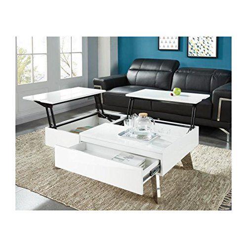 Générique Zanzibar Table Basse Transformable 110x75 Cm Laqué Blanc