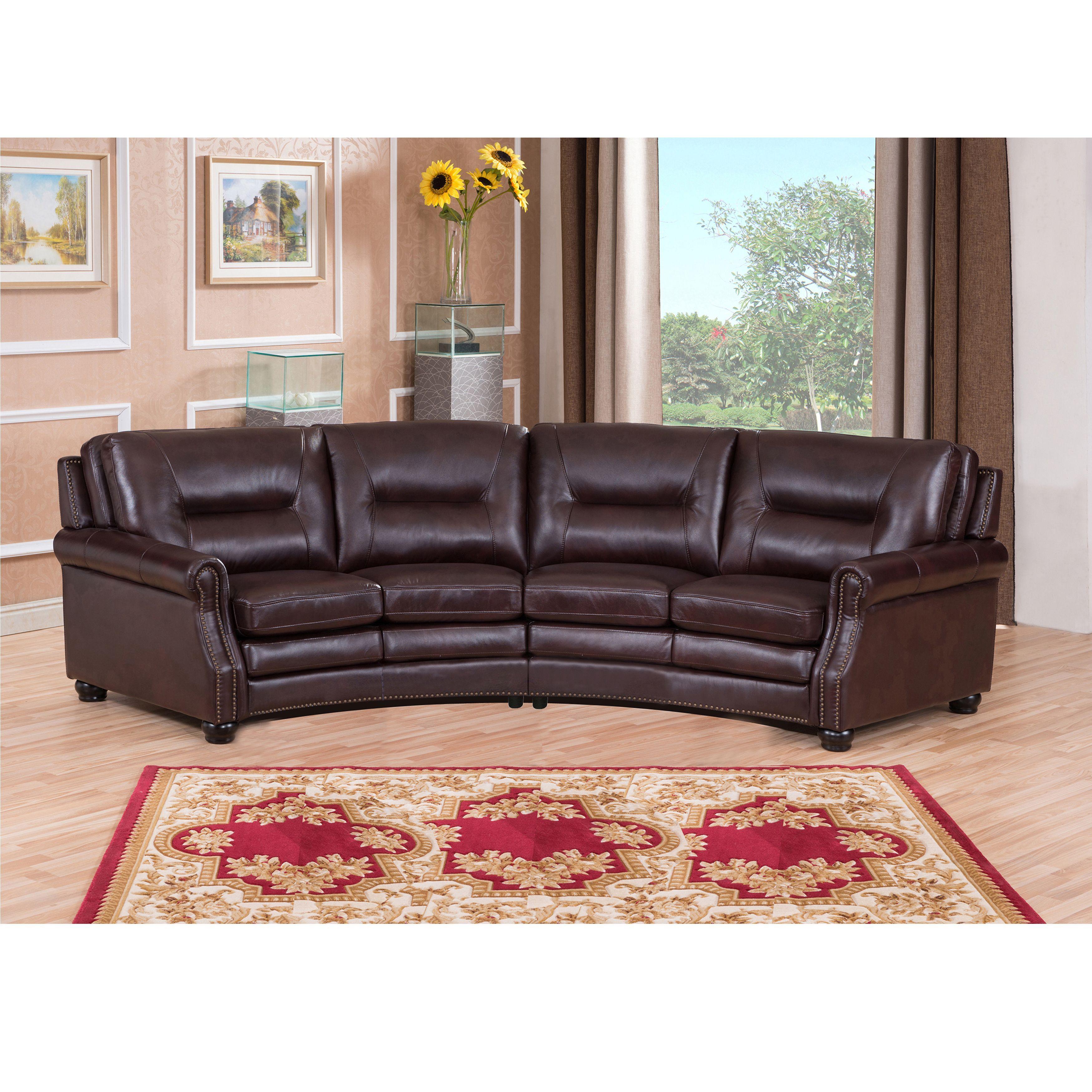 Incroyable Penn Chocolate Brown Curved Top Grain Leather Sectional Sofa