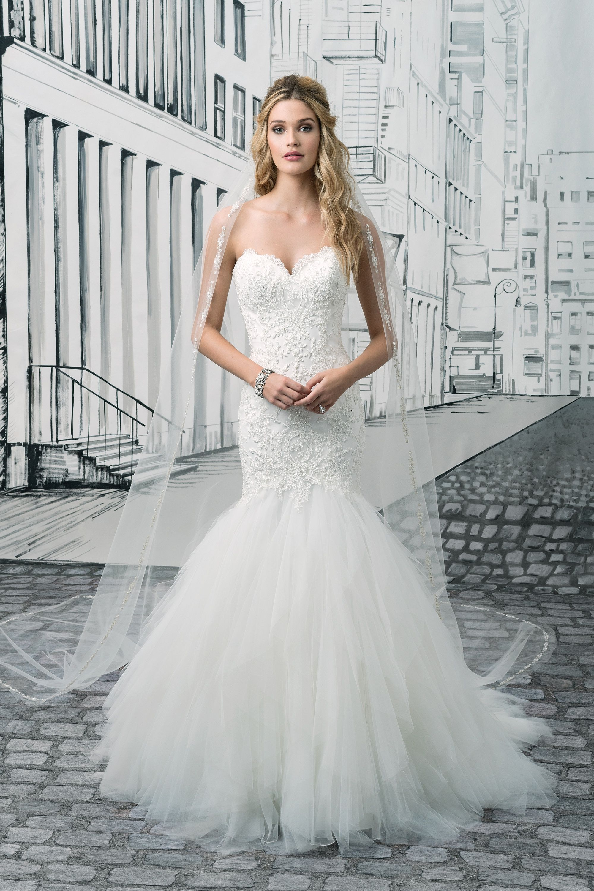 Beaded Lace Mermaid Gown With Tulle Handkerchief Skirt Wedding