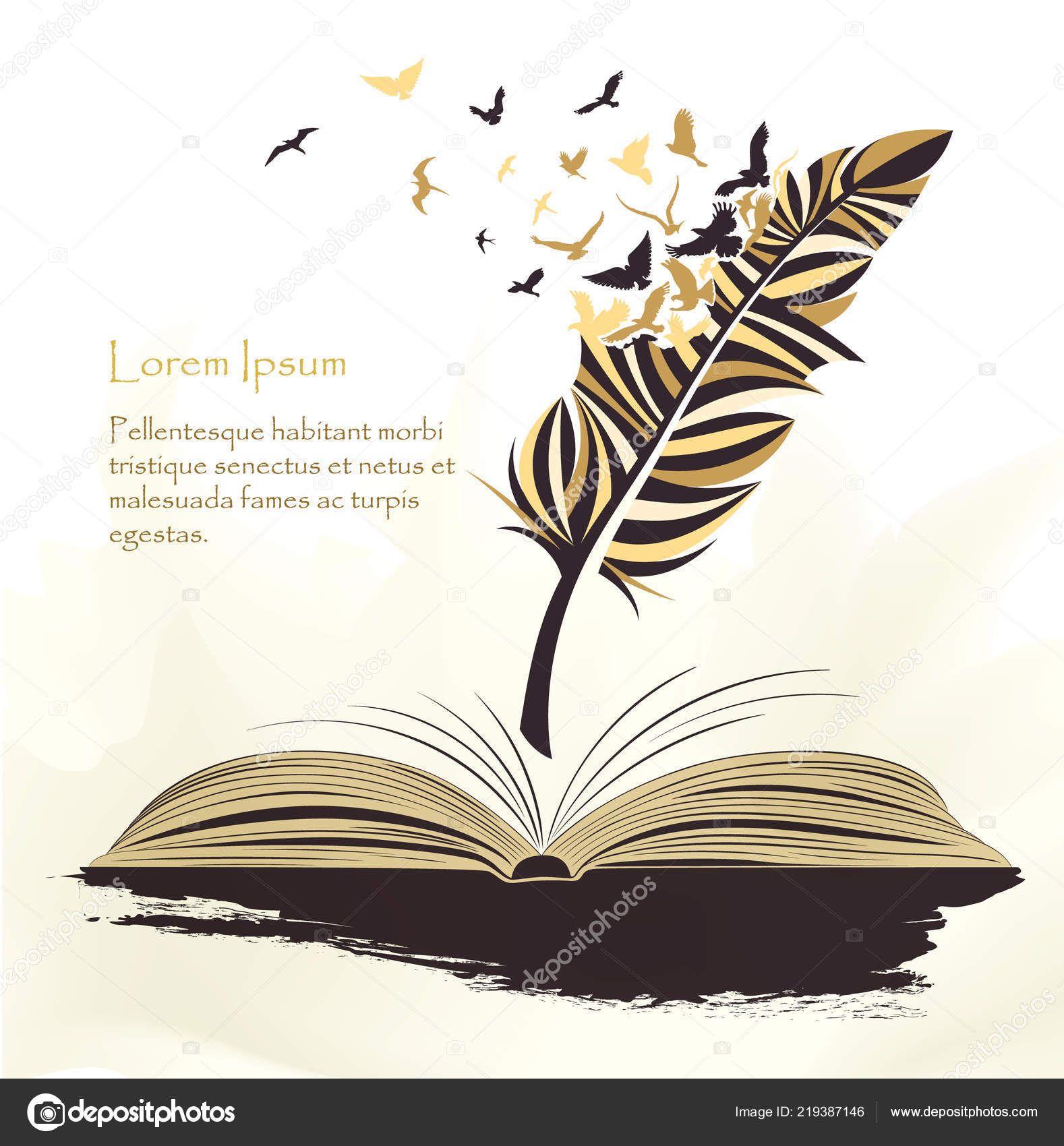 Écriture Plumes Multicolores Stylo Avec Vol Oiseaux Livre ...