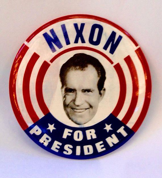 """Rare Nixon Pins: Campaign Button Nixon 1960's 6"""""""