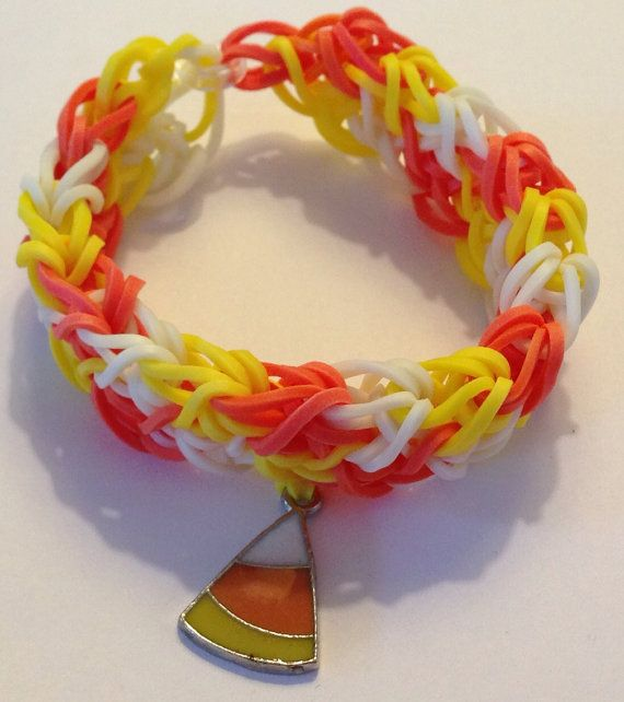 c38ac8f8912e Handmade Rainbow Loom Halloween Bracelet Glow in the Dark with Candy Corn  Charm Double Length on Etsy