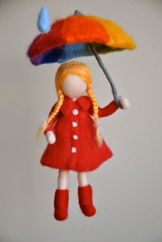 Children mobile Waldorf inspired needle felted girl with umbrella : Its raining