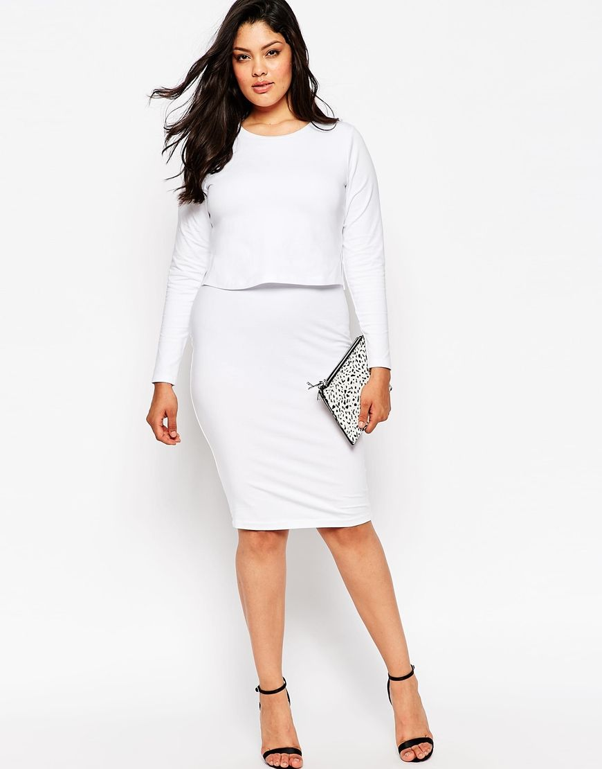 d49d2d30692 Image 4 of ASOS CURVE Midi Bodycon Dress In Cotton Modal With Double Layer