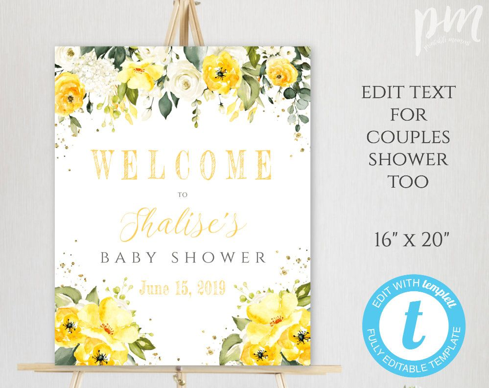 graphic relating to Welcome Signs Template identify Yellow Floral Child Shower, Welcome Signal Template, Welcome