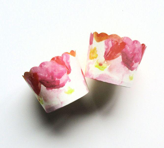 Muffinförmchen 25 Weiße Back & EisFörmchen mit Blumen