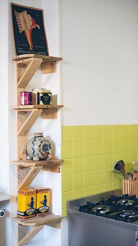 Pallet Kitchen Shelves | Wood | Pinterest | Kitchen shelves, Pallets ...