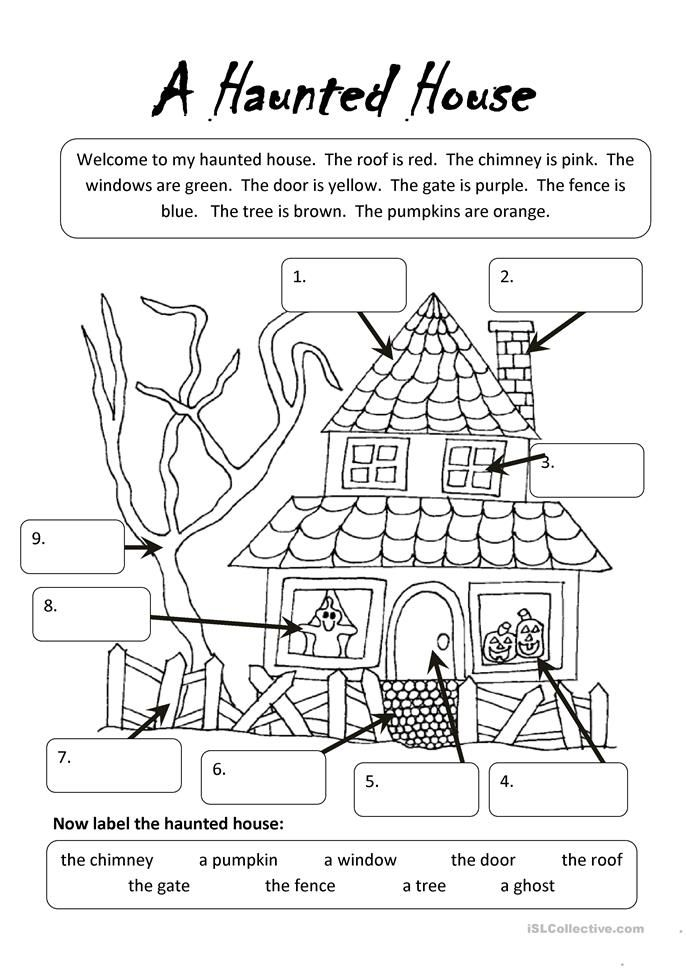A Haunted House Halloween Pinterest House Worksheets And
