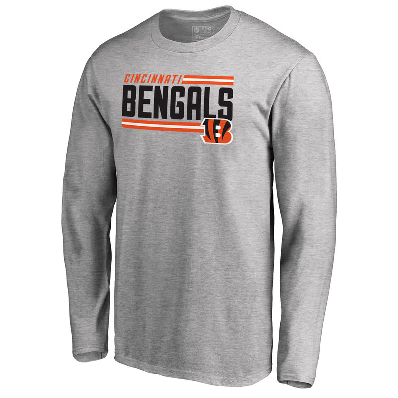 5e6319624 Men s NFL Pro Line by Fanatics Branded Ash Cincinnati Bengals Iconic  Collection On Side Stripe Long Sleeve T-Shirt