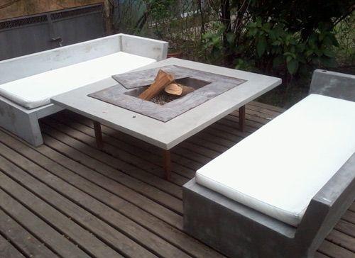 Muebles hechos de hormig n ideas finca pinterest for Muebles patio