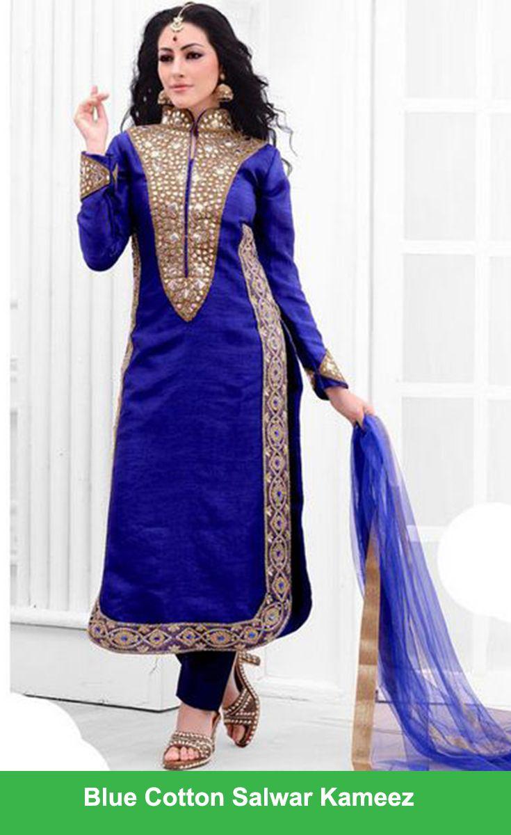 Blue Cotton Salwar Kameez #Diwali #Sale #online #Shopping ...