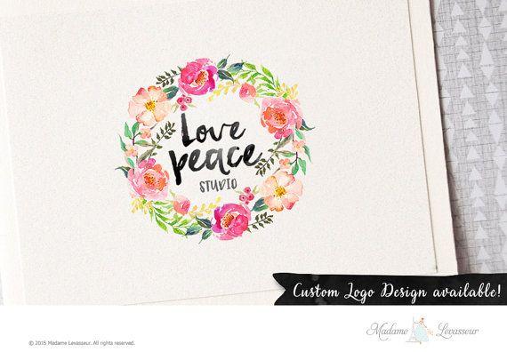 Watercolor wreath logo wreath logo premade logo design ink brush script logo website logo blog logo fashion boutique logo business branding