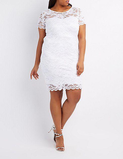 7894efccd53 Plus Size Floral Lace Scalloped Dress