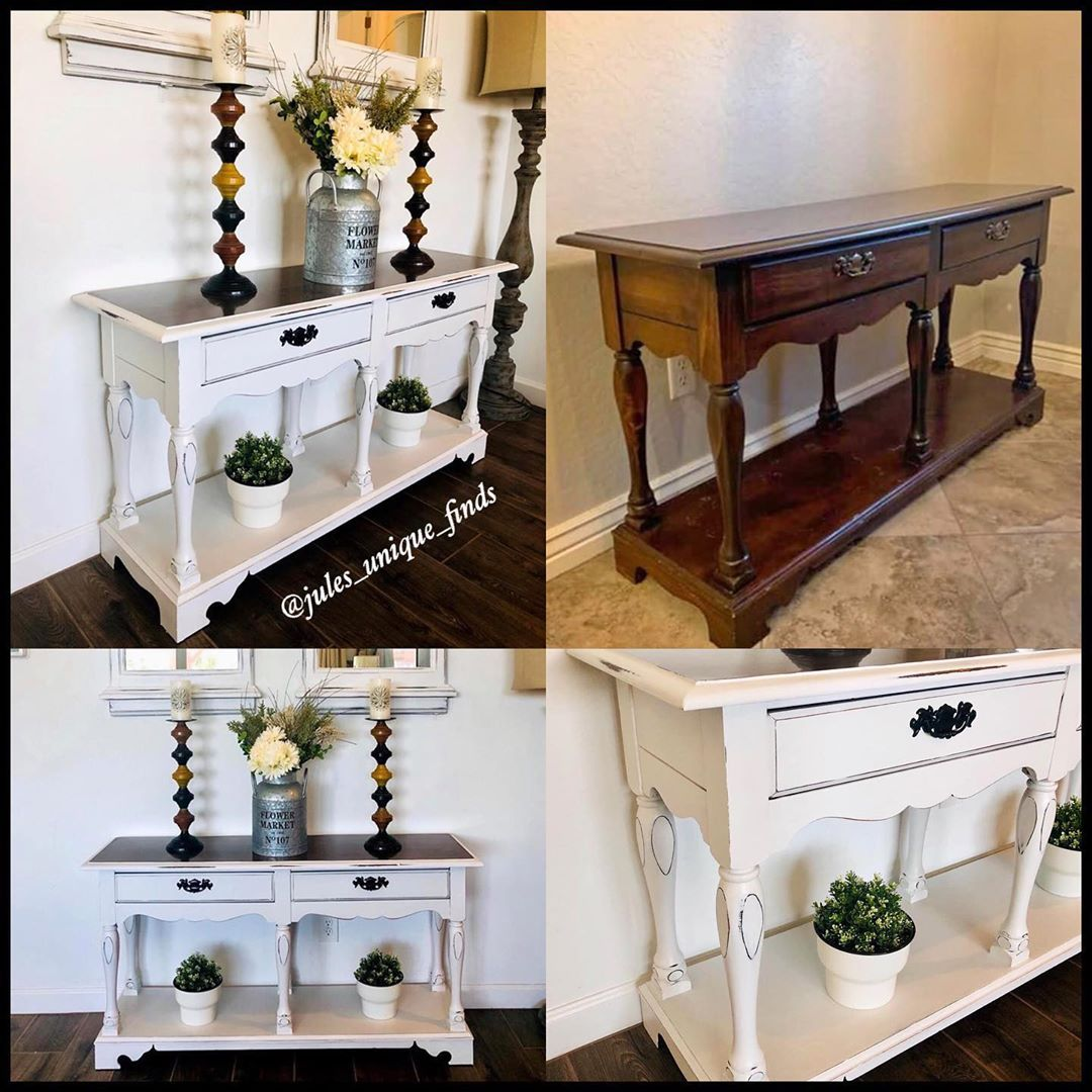 Vintage Entry Table Makeover Re Loved In Cotton White
